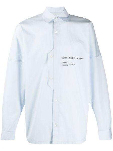 Niebieska klasyczna koszula bawełniana z długimi rękawami Poliquant