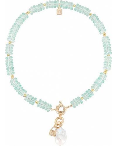 Złoty naszyjnik z pereł - niebieski Dannijo
