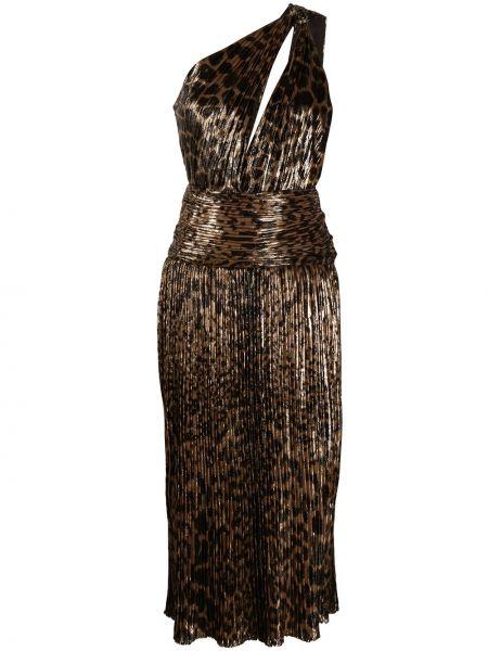 Платье миди на одно плечо леопардовое Saint Laurent