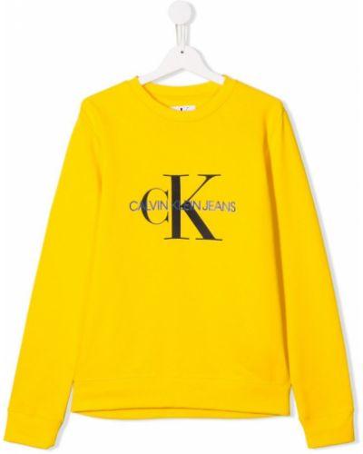 Толстовка с принтом желтый Calvin Klein Kids