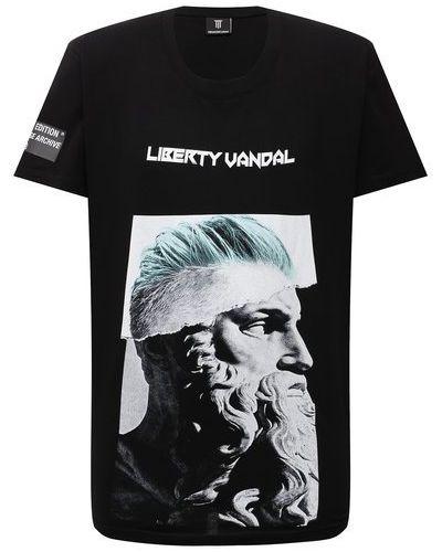 Черная хлопковая футболка Diego Venturino