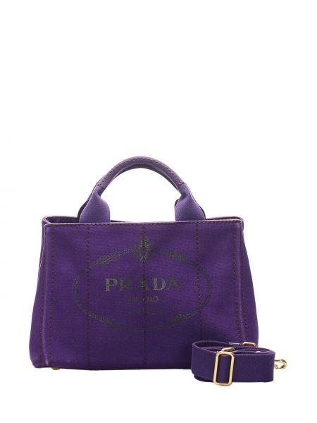 Парусиновая фиолетовая сумка на плечо с завязками с карманами Prada Pre-owned