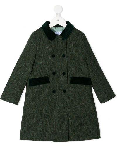 Зеленое шерстяное длинное пальто с воротником на пуговицах Siola