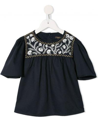 Блузка с короткими рукавами с вышивкой свободного кроя Velveteen