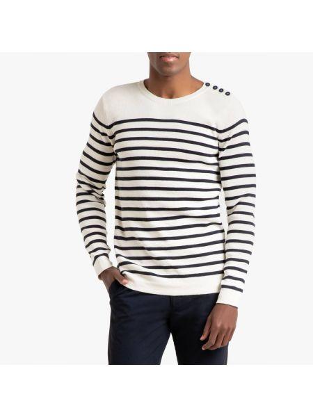 Бежевый свитер на пуговицах в рубчик с круглым вырезом La Redoute