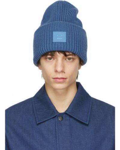 Синяя шерстяная шапка бини с заплатками Acne Studios