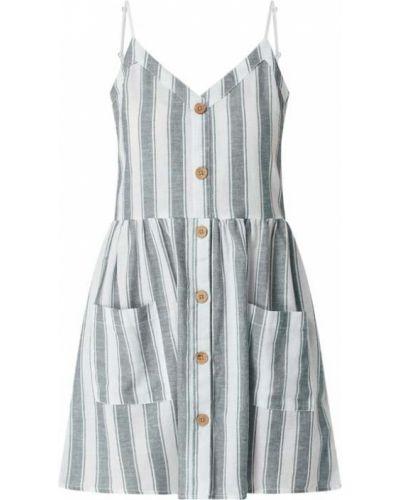Niebieska sukienka rozkloszowana w paski Review
