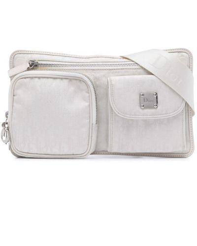 Biały pasek skórzany z paskiem Christian Dior