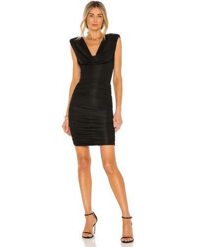 Трикотажное черное платье мини с оборками Michael Costello