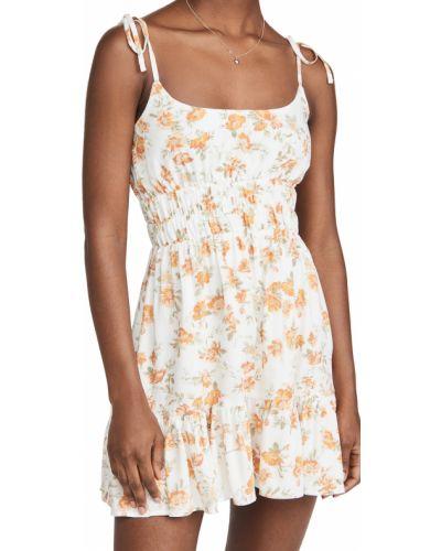 Платье мини в цветочный принт на бретелях с оборками Minkpink