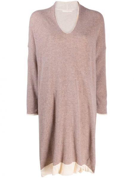 Драповое вязаное розовое платье макси на молнии Elsa Esturgie