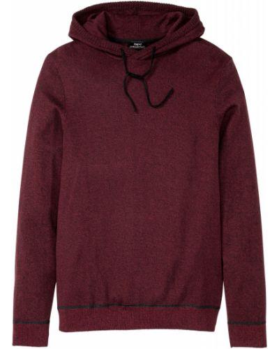 Красный с рукавами пуловер с манжетами с поясом Bonprix