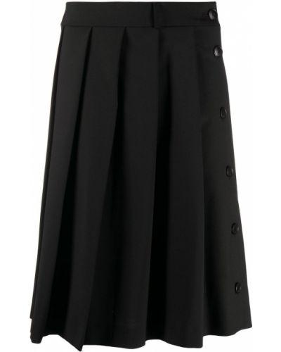Шерстяная черная юбка со складками Ami