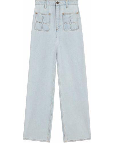 Прямые белые широкие джинсы с карманами Sandro