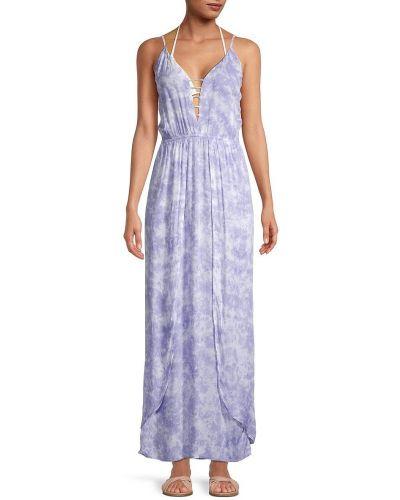 Пляжное синее платье макси без рукавов Tiare Hawaii