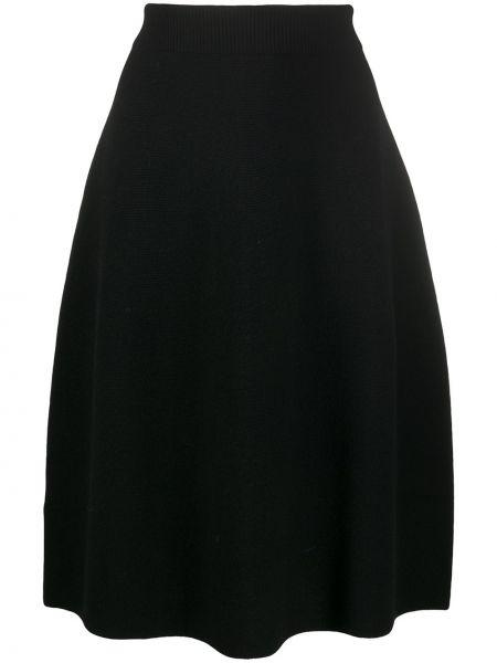 Шерстяная черная расклешенная юбка миди Christian Wijnants