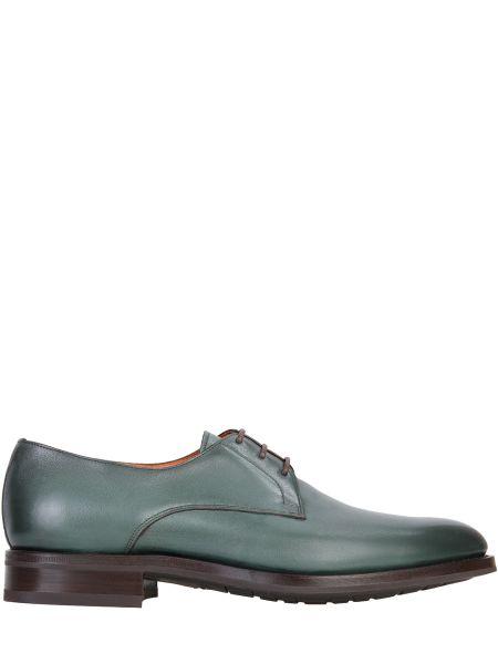 Кожаные зеленые туфли на шнуровке с декоративной отделкой на шнуровке Santoni