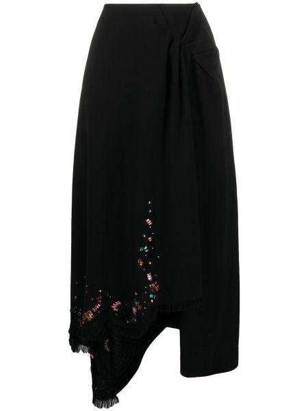 Шерстяная юбка - черная Lanvin