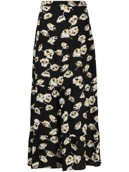 Z wysokim stanem czarny spódnica maxi z wiskozy wzór w kwiaty Ba&sh