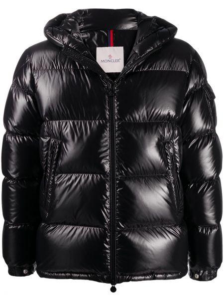 Puchaty czarny kurtka z kapturem z kieszeniami z długimi rękawami Moncler