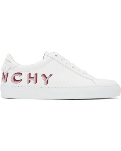 Skórzany fioletowy skórzane sneakersy na sznurowadłach okrągły Givenchy