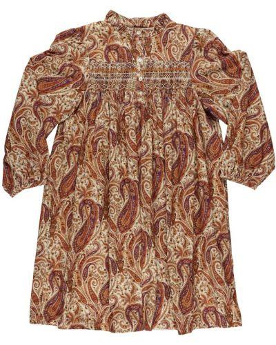 Brązowa sukienka z printem Bonpoint