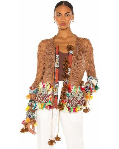 Коричневая куртка на молнии с вышивкой All Things Mochi
