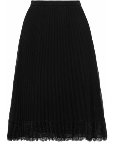 Шифоновая плиссированная черная юбка Mikael Aghal