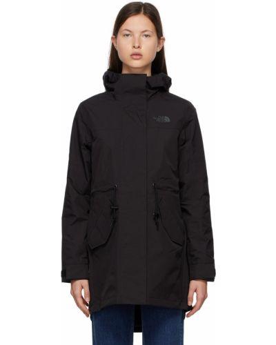 Satynowy czarny długi płaszcz z kapturem The North Face
