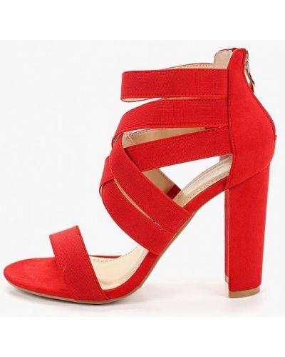 Босоножки на каблуке замшевые красный Sergio Todzi