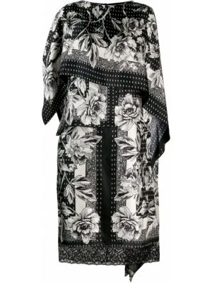 Черное шелковое платье миди на молнии с вырезом Antonio Marras