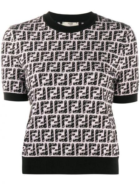 С рукавами прямая черная футболка из вискозы Fendi
