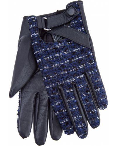 Кожаные перчатки шерстяные короткие Karl Lagerfeld