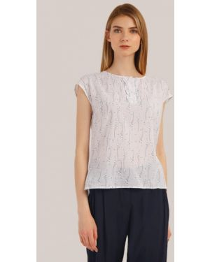 Блузка с коротким рукавом с расклешенными рукавами белая Finn Flare