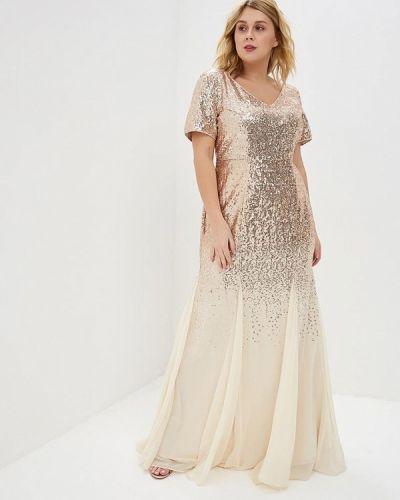 Вечернее платье золотой Goddiva Size Plus