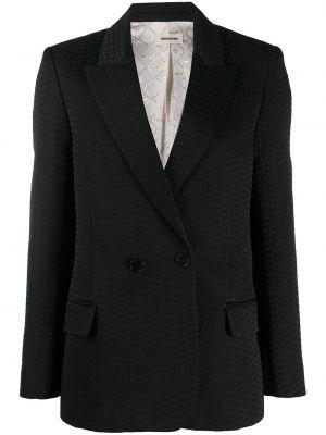 Черный удлиненный пиджак на пуговицах со шлицей Zadig&voltaire