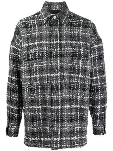 Шерстяной серый удлиненный пиджак в клетку Faith Connexion