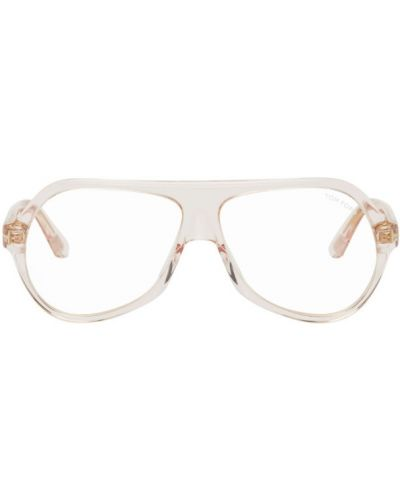 Бархатные розовые солнцезащитные очки прозрачные Tom Ford