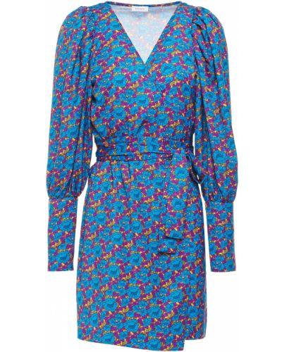 Niebieska satynowa sukienka mini kopertowa Rhode