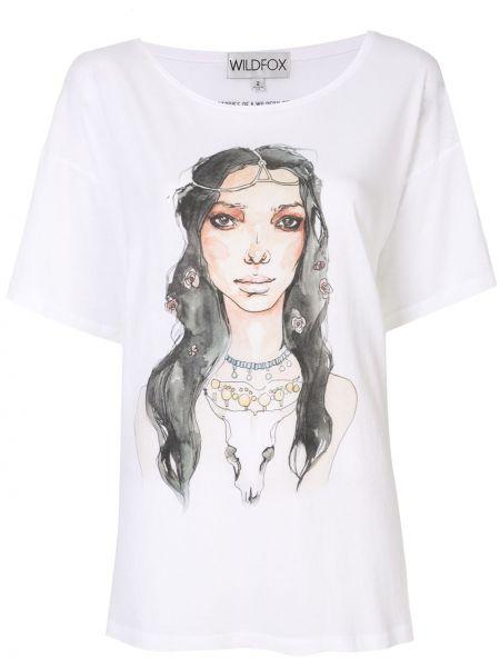 Biały t-shirt bawełniany z printem Wildfox