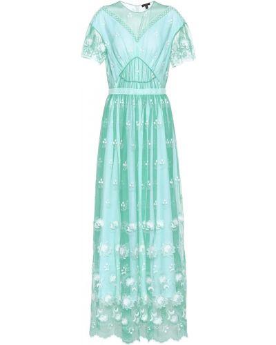 Платье макси из фатина с вышивкой Burberry