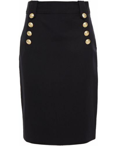 Хлопковая черная юбка карандаш на пуговицах Derek Lam 10 Crosby