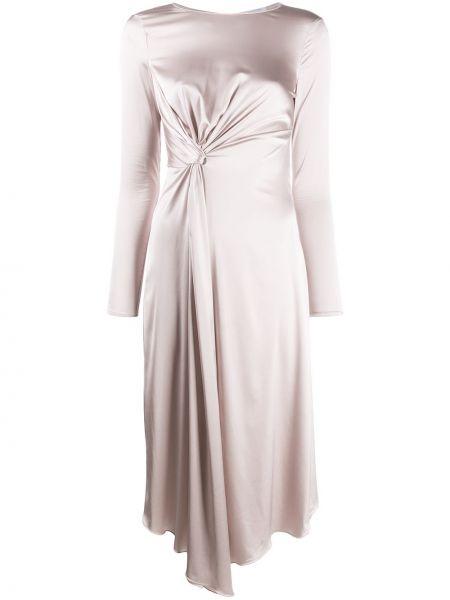 Асимметричное розовое платье миди с драпировкой с вырезом Patrizia Pepe