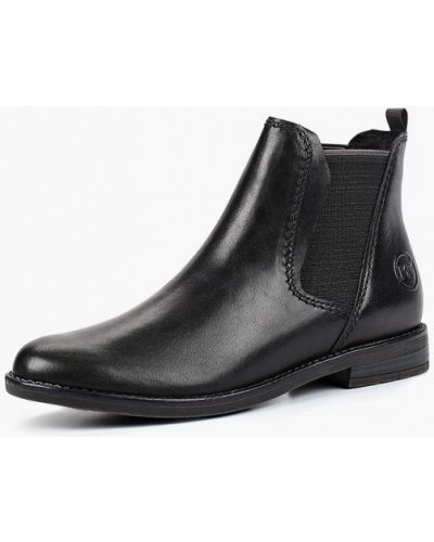 Ботинки челси осенние кожаные на каблуке Marco Tozzi