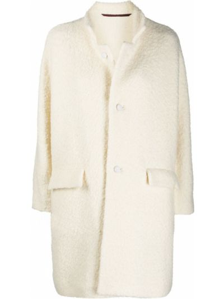 Шерстяное белое пальто классическое с воротником Daniela Gregis