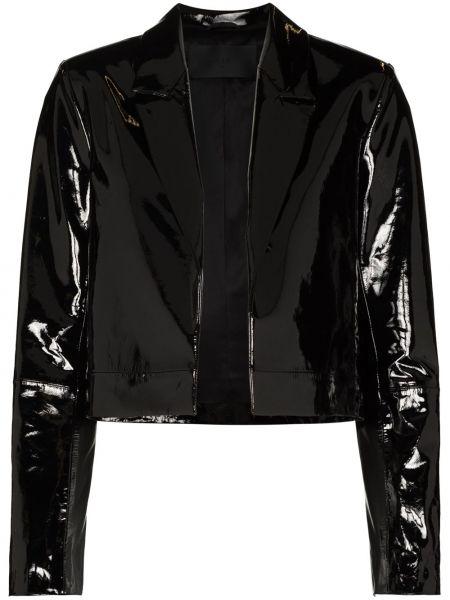 Черная кожаная длинная куртка с воротником Rta