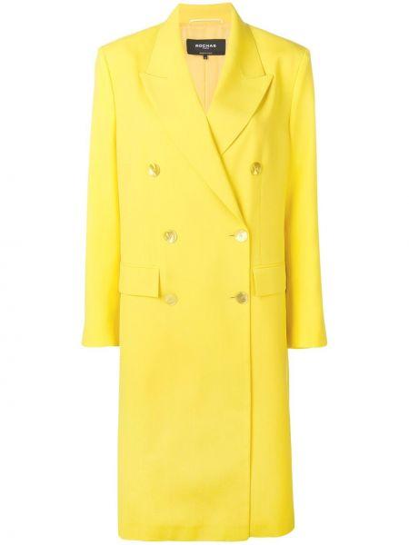 Шерстяное пальто с капюшоном двубортное Rochas