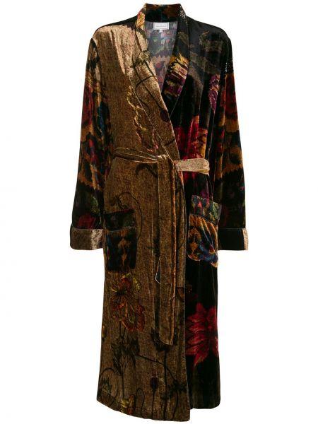Бархатное длинное пальто с завязками в цветочный принт Pierre-louis Mascia