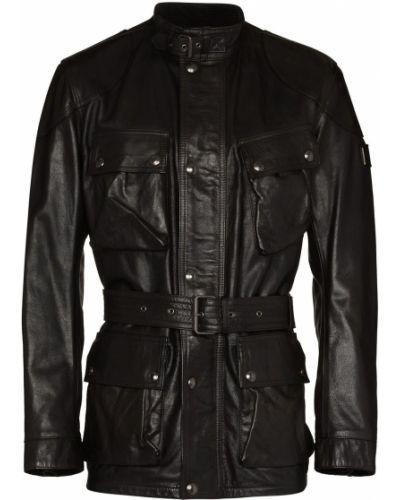 Czarna długa kurtka skórzana z długimi rękawami Belstaff