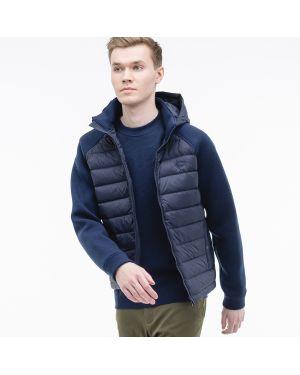 Куртка с капюшоном стеганая синяя Lacoste